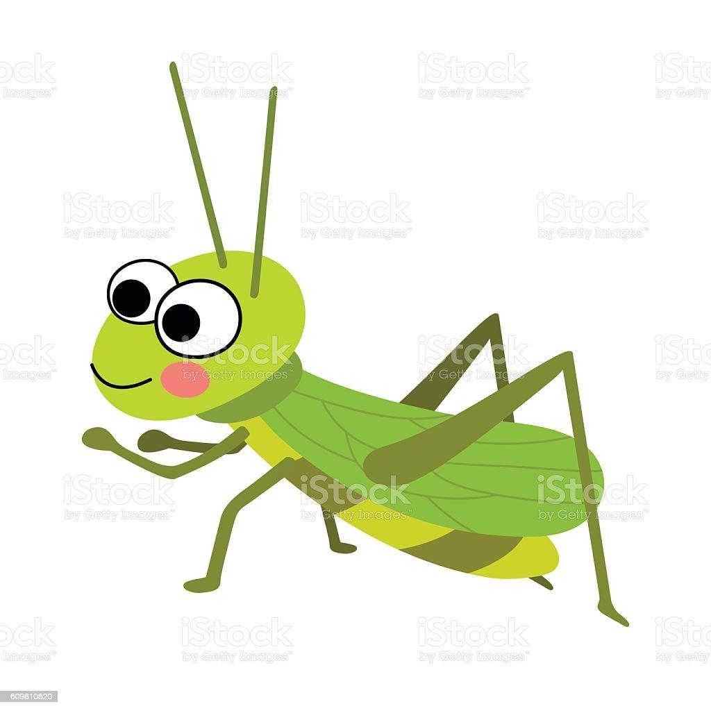 Grasshopper animal cartoon character vector illustration. vector art illustration