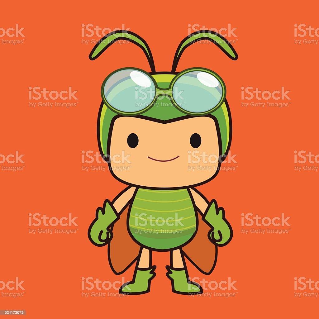 Grasshopper boy vector art illustration