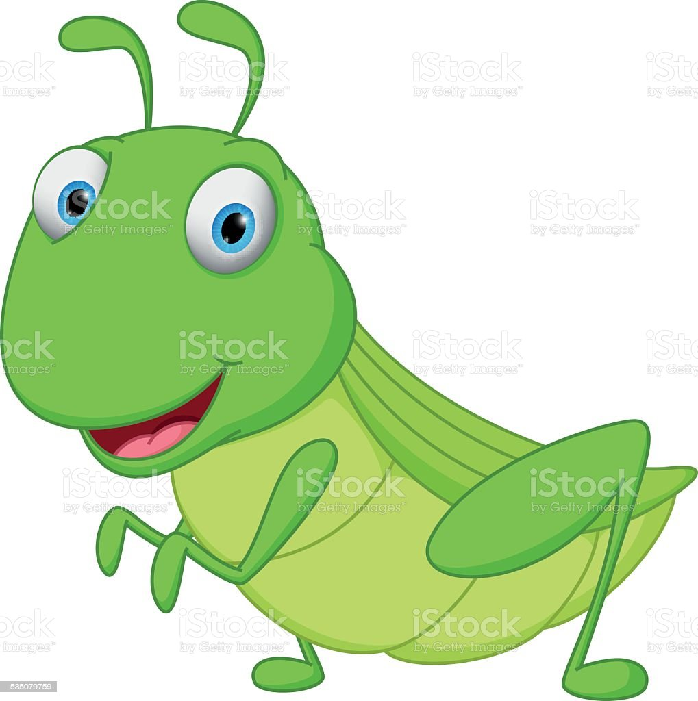 Grasshopper cartoon vector art illustration