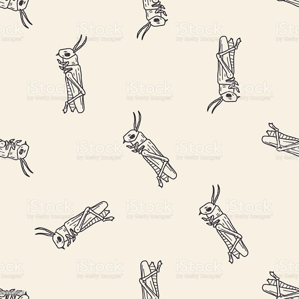 grasshopper doodle seamless pattern background vector art illustration
