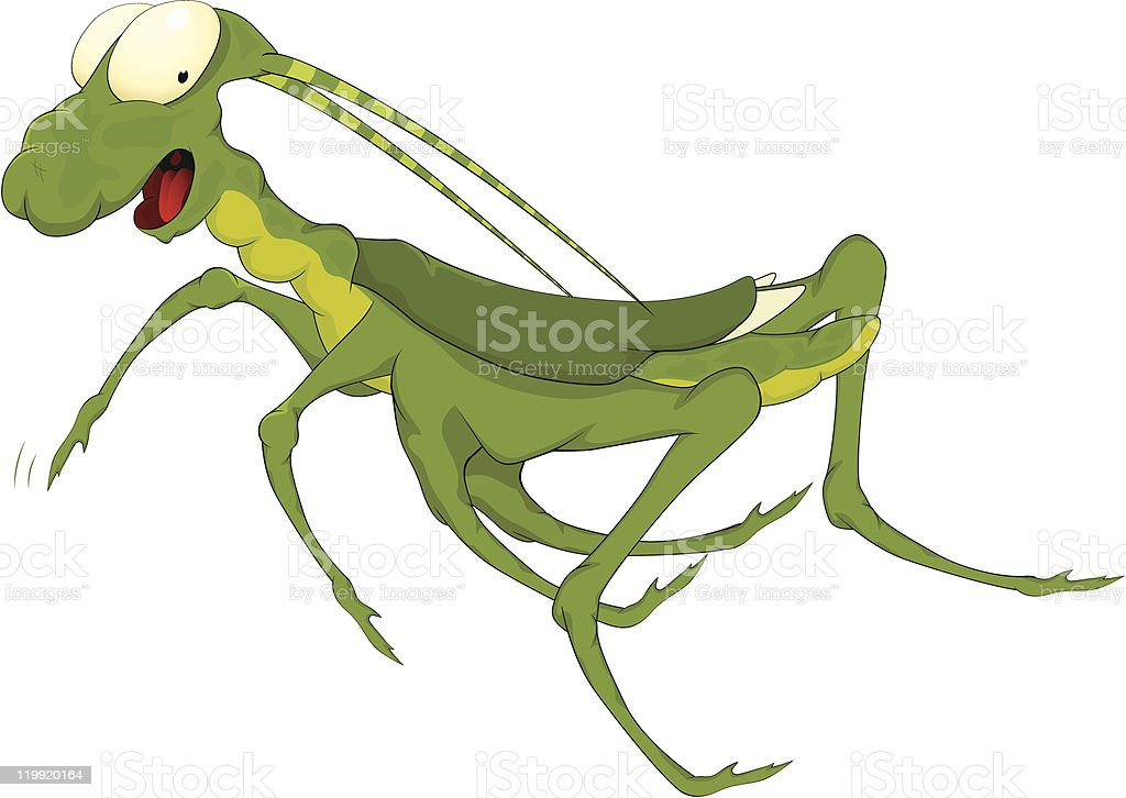 Grasshopper from a fairy tale vector art illustration
