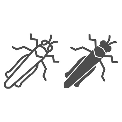 Grasshopper line and solid icon, Insects concept, locust sign on white background, cricket icon in outline style for mobile concept and web design. Vector graphics.