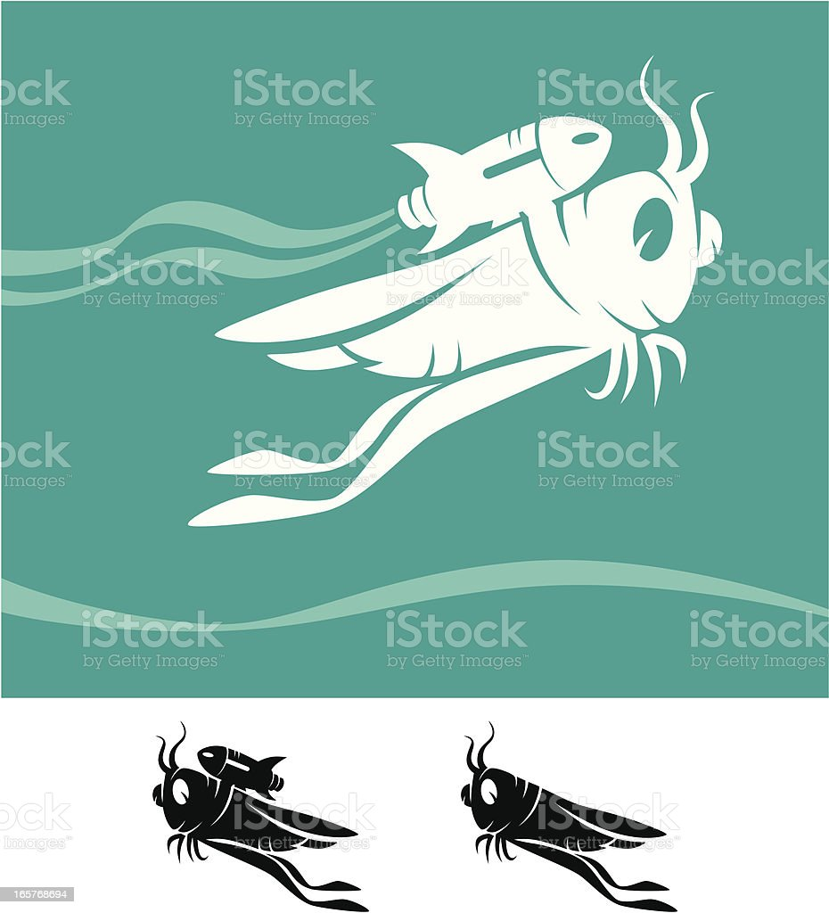 grasshopper with jet pack vector art illustration