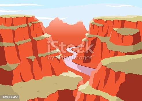 Grat Canyon National Park Arizona United States Colorado Plateau seven natural wonders, vector illustration cartoon.