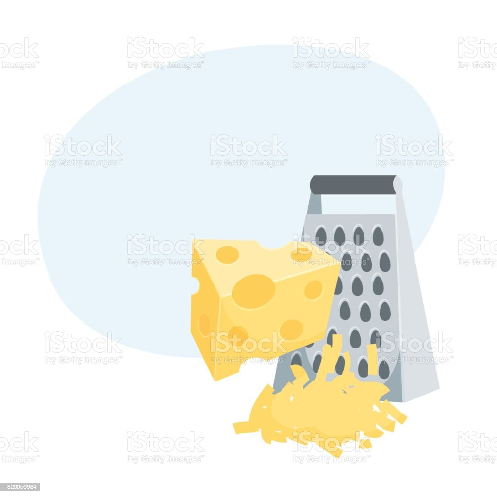 Grated a cheese vector art illustration