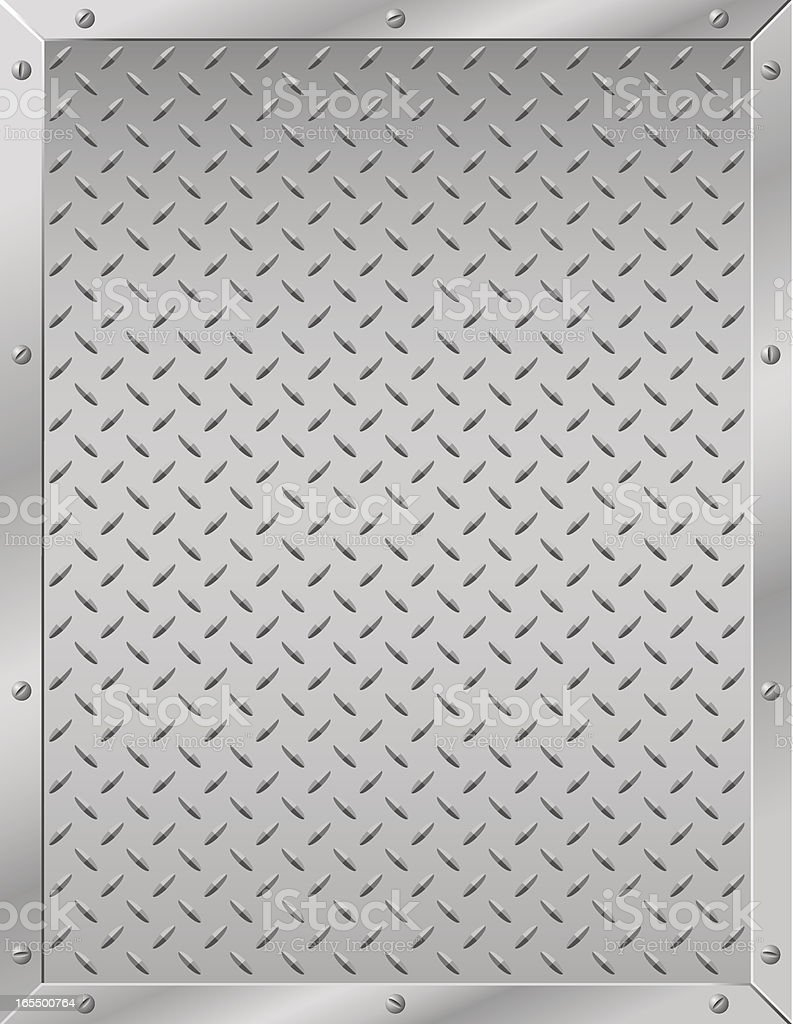 Grated metal diamond plate with screwed in border royalty-free stock vector art