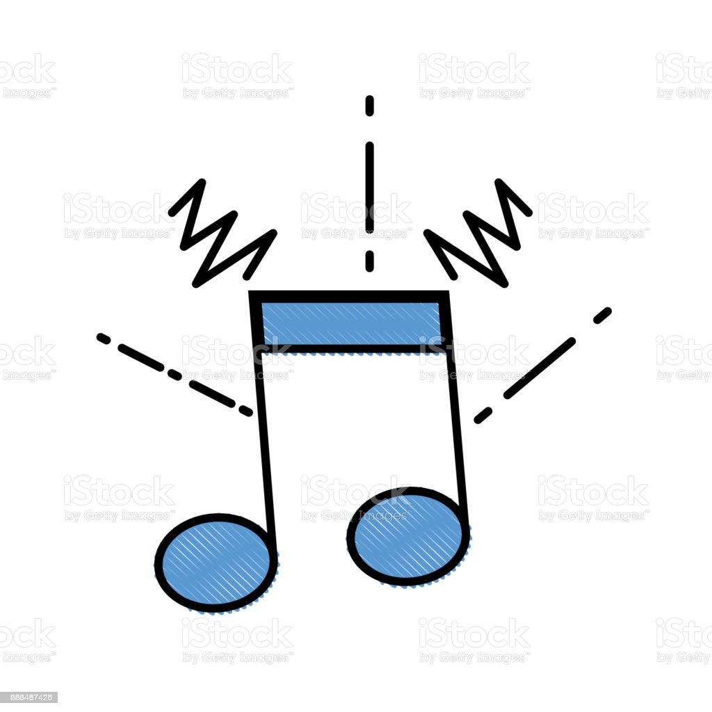 grated musical note sign to rhythm sound vector art illustration
