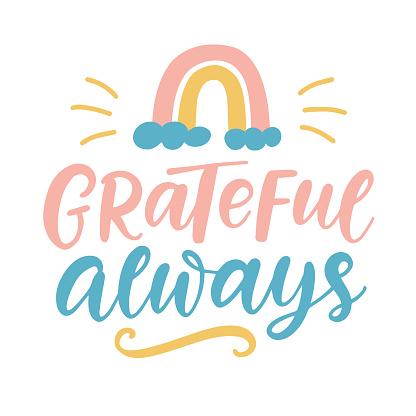Grateful Always lettering