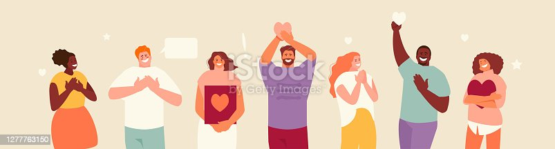 Sincere grateful smiling people saying thank you vector illustration