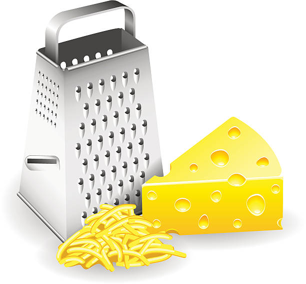 Grater and Cheese A piece of cheese grater and grated cheese. File in version 10 EPS. May contain effects and transparency. grater utensil stock illustrations