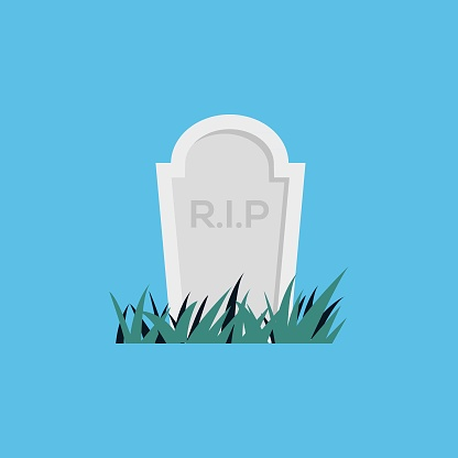 grave flat icon logo