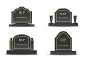 Grave headstones. Tomb gravetones black monuments with rest in peace text, burials stones vector images isolated on white, cartoon rip tombstone graves for cartoon death and funeral