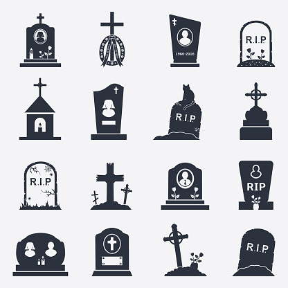 Grave icons set