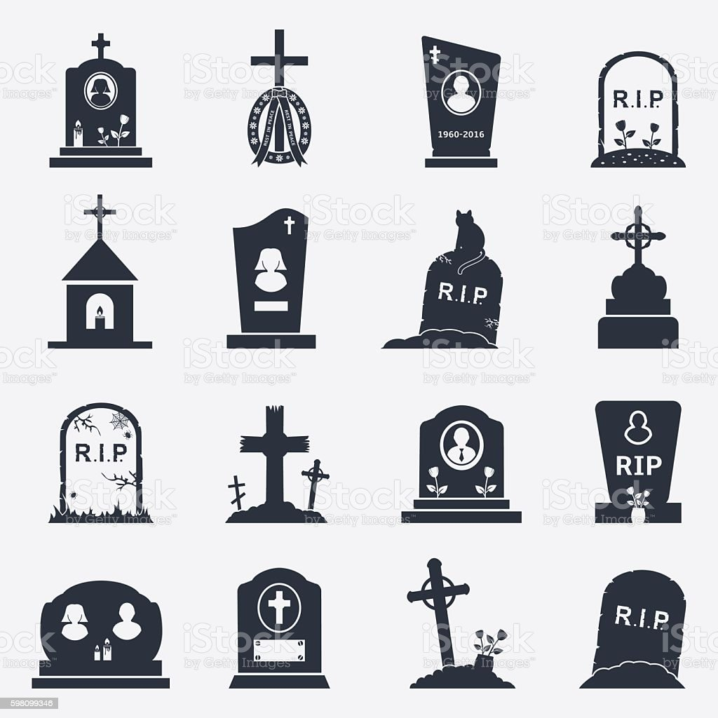 Grave icons set vector art illustration