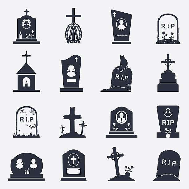 grave icons set - tombstone stock illustrations, clip art, cartoons, & icons