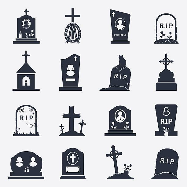 stockillustraties, clipart, cartoons en iconen met grave icons set - graftombe