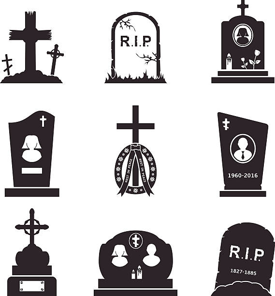 grave icons - tombstone stock illustrations, clip art, cartoons, & icons