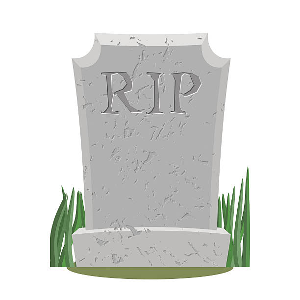 grave. old gravestone with cracks. tomb on white background. anc - tombstone stock illustrations