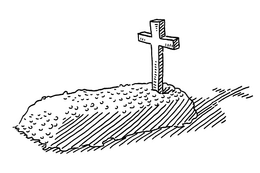 Grave Religious Cross Drawing