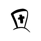 Grave tombstone with christian cross doodle icon, hand drawn illustration for RIP, rest in peace illustration, funeral service, last farewell card, cemetery, resting place. Isolated on white