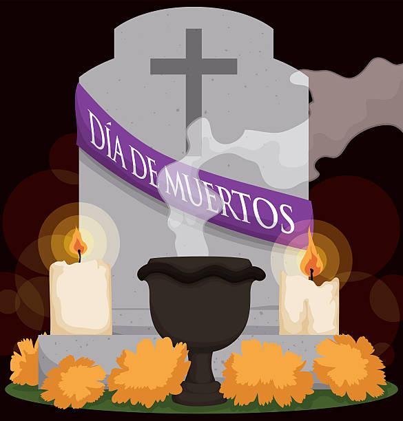 """bildbanksillustrationer, clip art samt tecknat material och ikoner med grave with flowers, candle and incense for """"dia de muertos"""" - ljus på grav"""