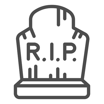 Grave with inscription rip line icon, halloween concept, grave with scratches sign on white background, abandoned headstone icon in outline style for mobile concept. Vector graphics.