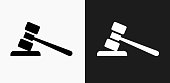 Gravel Icon on Black and White Vector Backgrounds