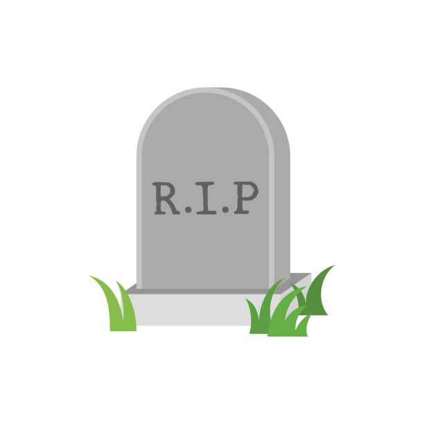 gravestone icon with green grass, flat design vector - tombstone stock illustrations