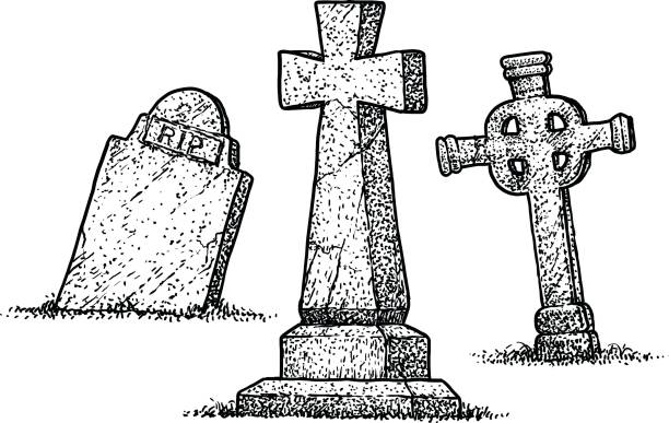gravestone illustration, drawing, engraving, ink, line art, vector - tombstone stock illustrations