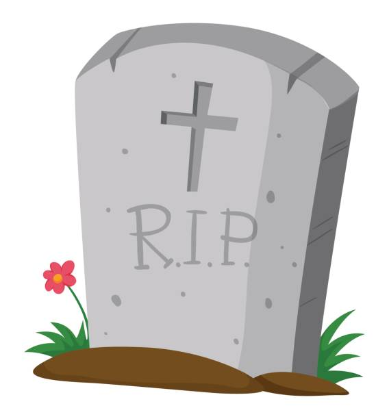 gravestone on the ground - tombstone stock illustrations