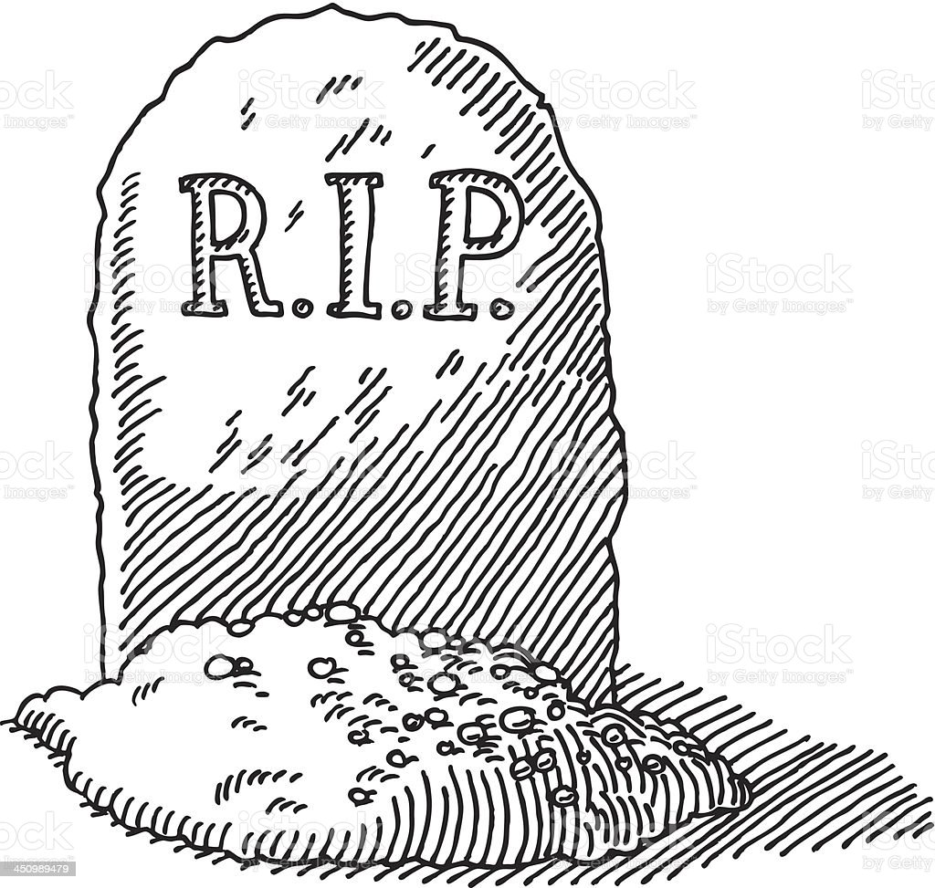 Gravestone rip drawing stock vector art more images of black and white istock - Pierre tombale dessin ...