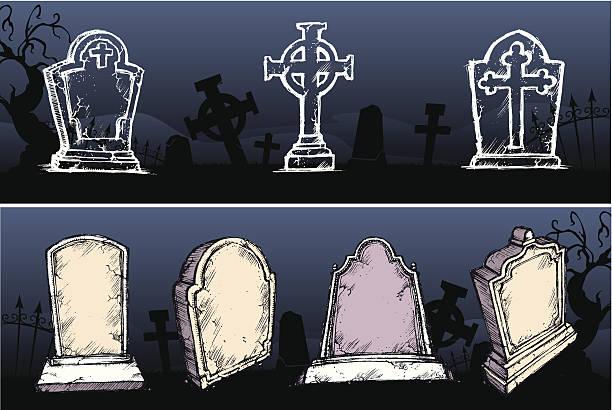 gravestone set - tombstone stock illustrations, clip art, cartoons, & icons