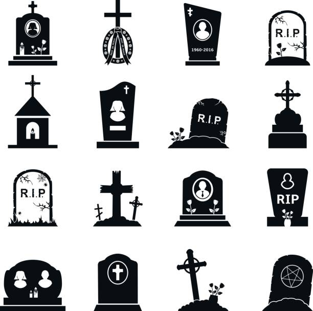 gravestones and tombstones icons set - tombstone stock illustrations