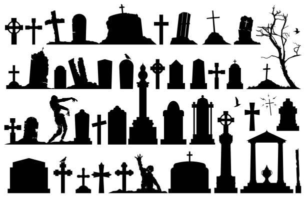 gravestones and tombstones set - tombstone stock illustrations, clip art, cartoons, & icons