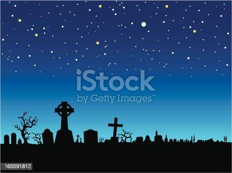 A vector illustration of a graveyard at night.