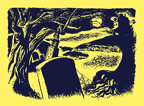 graveyard at night - tombstone stock illustrations, clip art, cartoons, & icons