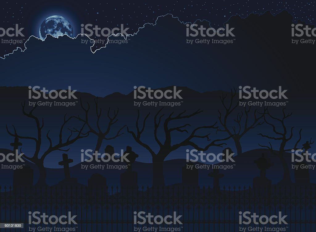 Graveyard background royalty-free stock vector art