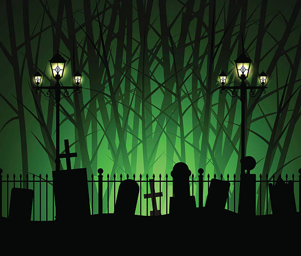 Graveyard cemetery tomb in forest and street lamp Graveyard cemetery tomb in forest with street lamp, Halloween background, vector illustration scary halloween scene silhouettes stock illustrations