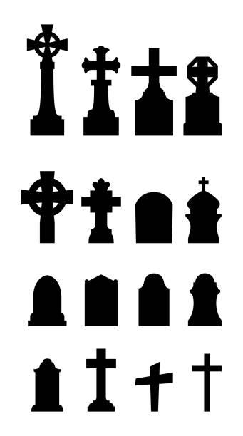 bildbanksillustrationer, clip art samt tecknat material och ikoner med graveyard ikoner på vit bakgrund - grav