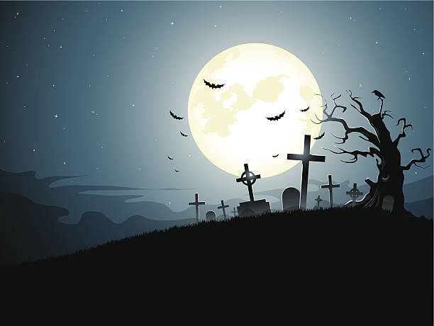 stockillustraties, clipart, cartoons en iconen met graveyard - kerkhof
