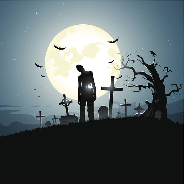 bildbanksillustrationer, clip art samt tecknat material och ikoner med graveyard - zombie