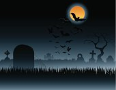 A spooky Halloween background depicting a graveyard with bats in flight.