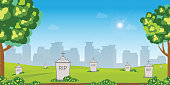 Graveyard with old tombstones among green grass with flowers and trees on city buildings on background, memorial park, vector illustration.