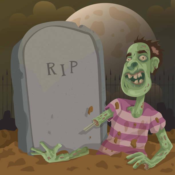 Graveyard Zombie vector art illustration