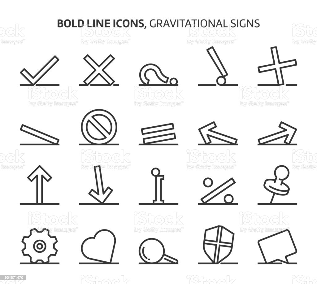 Gravitational signs, bold line icons royalty-free gravitational signs bold line icons stock vector art & more images of arrow - bow and arrow