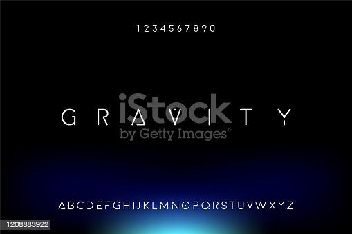 istock Gravity, a modern minimalist futuristic alphabet font design 1208883922