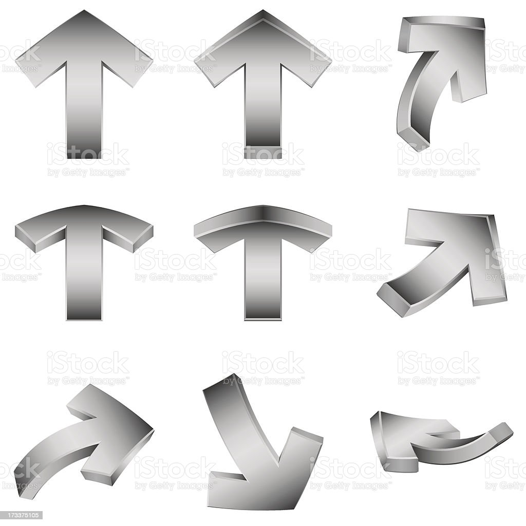 Gray 3d arrows royalty-free gray 3d arrows stock vector art & more images of arrow - bow and arrow