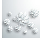 gray 3D floral pattern background for design