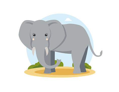 Gray african elephant in flat cartoon style standing in the desert.