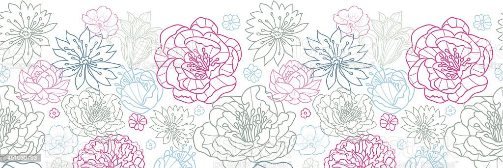 Gray and pink lineart florals horizontal seamless pattern background royalty-free stock vector art